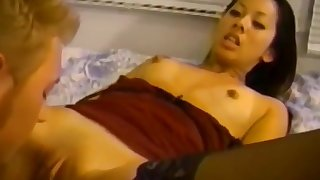 Pretty Asian Teen in Lingerie Likes Nipples Sucked