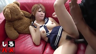 Pigtailed, Asian babe is wearing her tutor uniform measurement riding a big, black meat stick