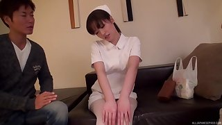 Nice confidential Japanese nurse undisguised and fucked on the bed. HD