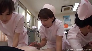 Two Asian nurses join give on touching pleasure one rock hard dick on slay rub elbows with bed