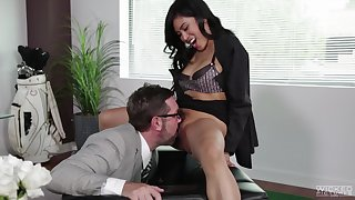 Ember Snow seduced by a mature boss for a cock riding session