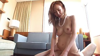 Japanese maiden with hairy pussy lovely riding big cock