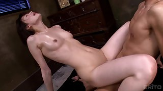 Oiled Asian girl Moe Ona needs to ride a big delicious shaft