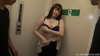 Shiomi Yuriko has a blast while being stuck with a couple of studs
