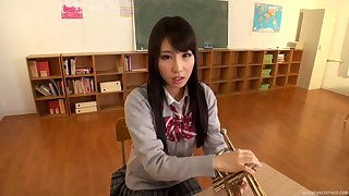 Asian girl Ayami Shunka is on her knees jumbo the best blowjob ever