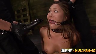 Collared girl takes a pussy pounding newcomer disabuse of her mistresses