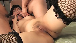 Japanese with despotic lines tries anal trio