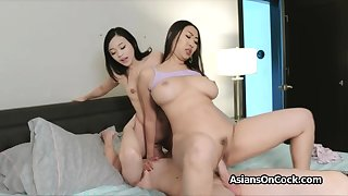 Big blarney threesome with horny Asian hotties