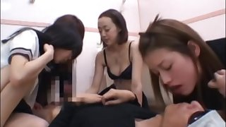 unwitting guy with 4 girls spitting and face licking