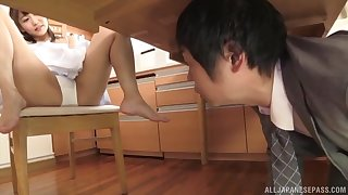 Boss catches Shinomiya Yuri masturbating together with forces her to suck his dick
