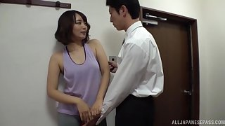 Threesome sex with amateur Japanese mature wife Misaki Kanna