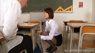 Asian teacher in a unforeseen skirt fucks team a few of their way students hardcore