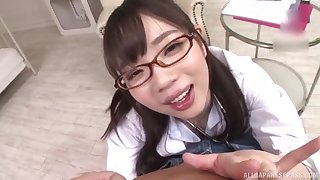 Japanese schoogirl kneels be proper of step daddy before going apropos school